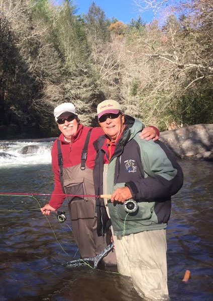 Brothers, Ken and Gus Gustafson wading the Chestatee River.
